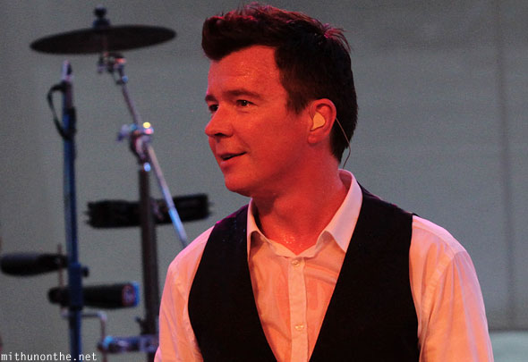 Rick Astley on stage Singapore F1 concert