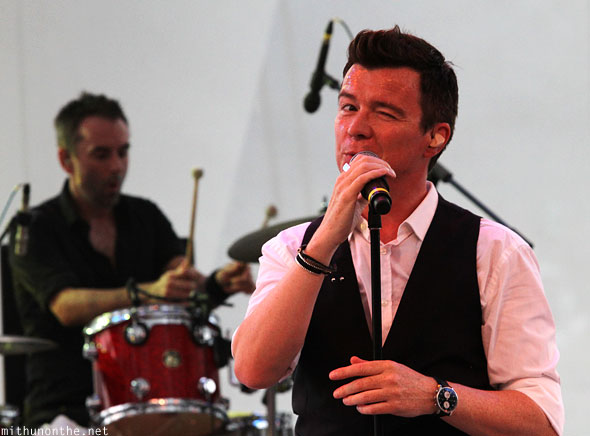 Rick Astley winking Singapore concert
