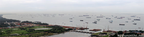 Singapore bay ships docked in sea panorama