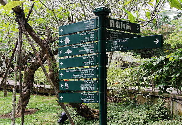Singapore Botanic Gardens direction sign