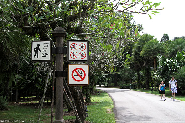 Singapore Botanic Gardens restrictions no signs