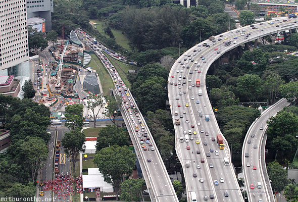 Singapore evening traffic jam aerial view