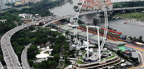 Singapore Flyer east coast highway panorama