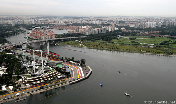 Singapore flyer F1 circuit aerial view