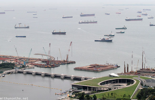 Singapore Marina Barrage reservoir ships sea