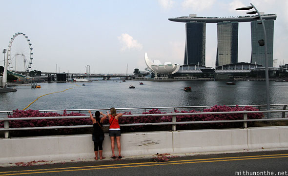 Singapore Marina Bay Sands hotel view from Esplanade drive