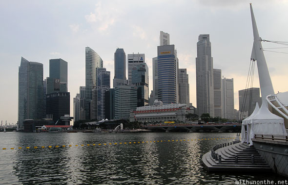 Singapore marina bay skyline from Esplanade bay