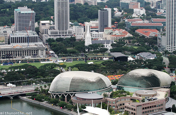 Singapore Padang grounds stage Esplanade Marina Bay aerial view