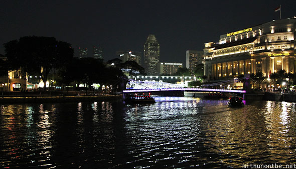 Singapore river at night boat quay