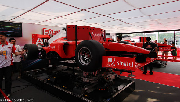 Singtel booth formula one car simulators Singapore GP