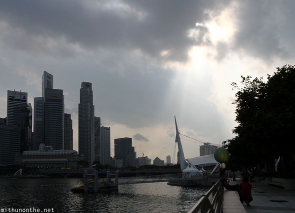Sunlight ray through clouds Singapore Marina Bay