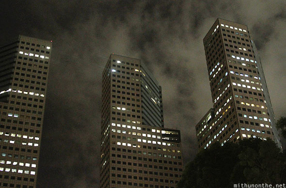 Suntec city towers at night Singapore
