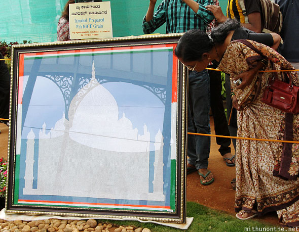 Taj Mahal made using rice grains Lal Bagh display