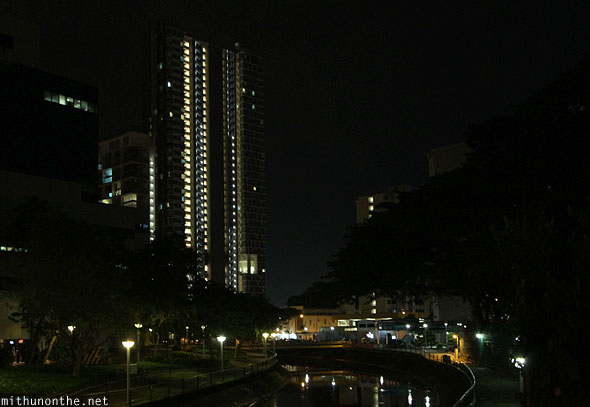 Tall apartment at night Singapore