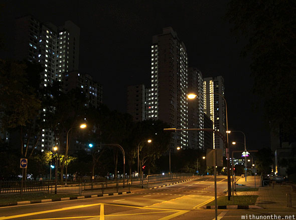 Victoria street apartments at night Singapore