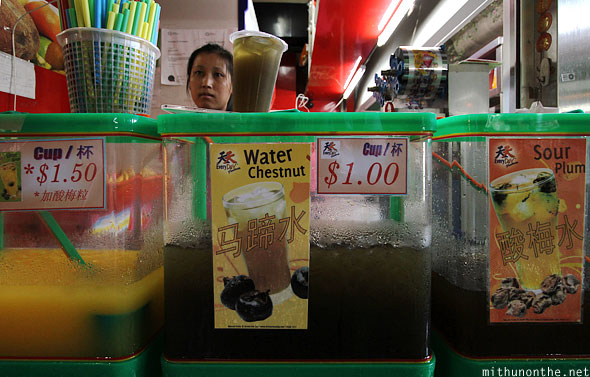 Water chestnut juice vendor Singapore