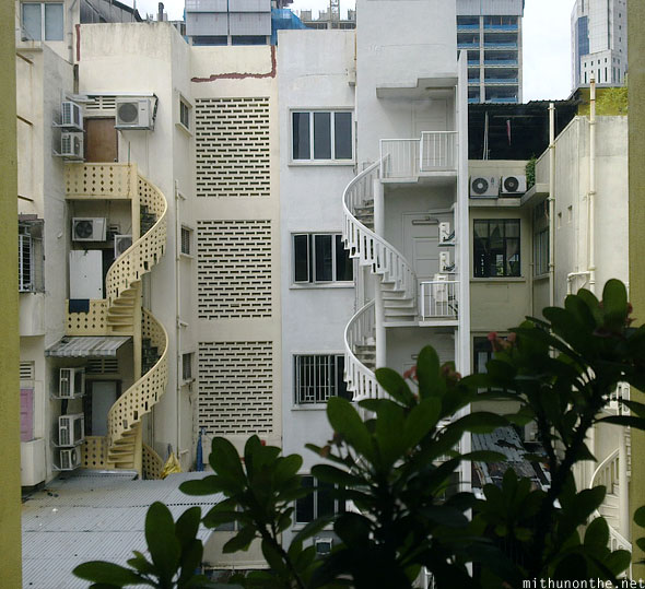 Back staircase Singapore buildings