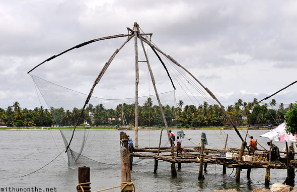 Chinese fishing net fishermen Cochin Kerala India
