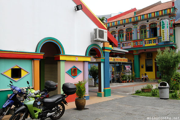 Colourful buildings Little India Singapore