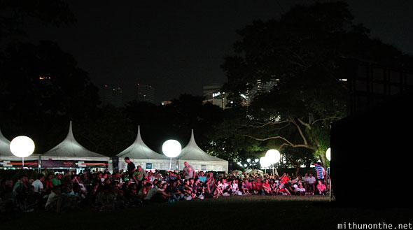 Crowds watching race Esplanade park Singapore F1