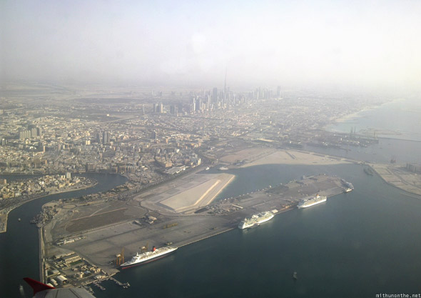 Dubai from airplane