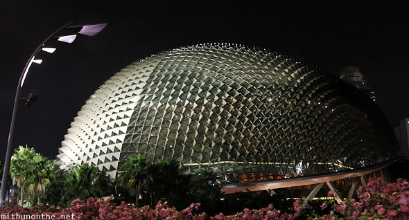 Esplanade theatre dome Singapore at night