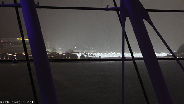 Heavy rain Singapore night Marina Bay