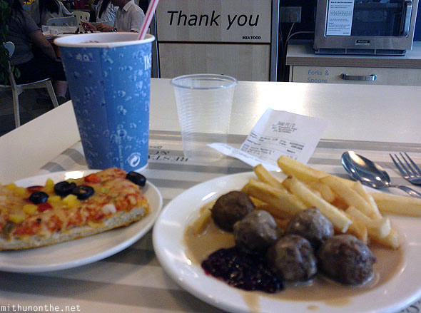 IKEA lunch food pizza meatball fries Appleberry