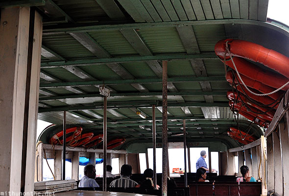 Inside ferry boat Cochin islands Kerala