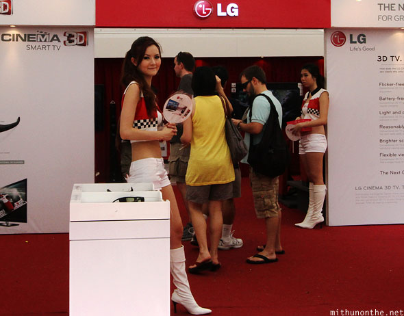 LG booth babes Chinese model Singapore GP