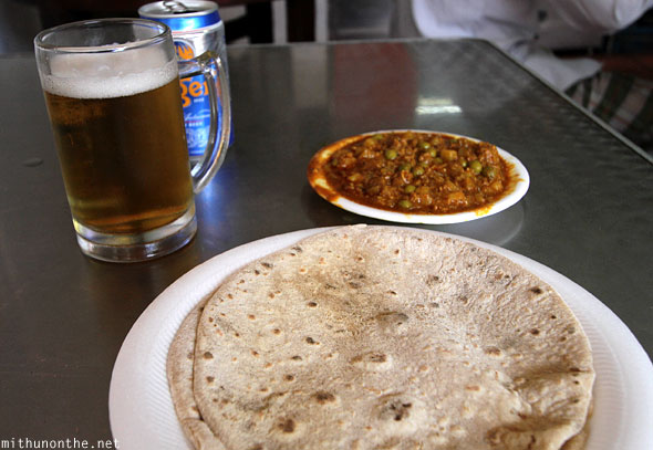 Mutton kheema chapathi Tiger beer Singapore