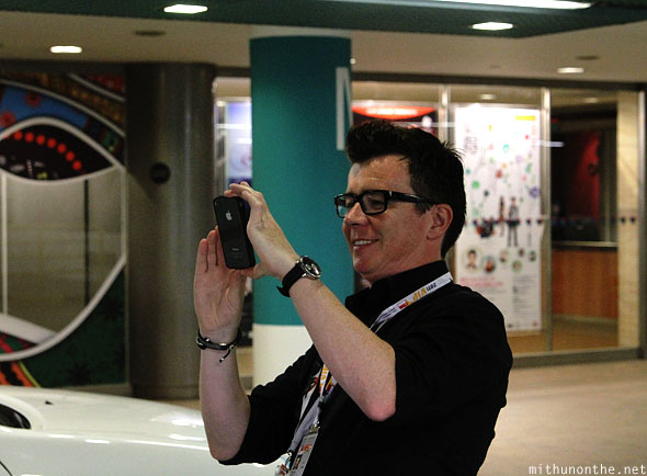 Rick Astley taking photo Singapore Esplanade