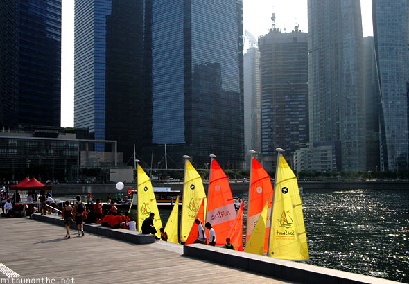 Sail boats Marina Bay Sands dock Singapore