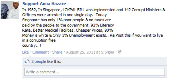 Singapore Lok Pal bill bullshit on Facebook