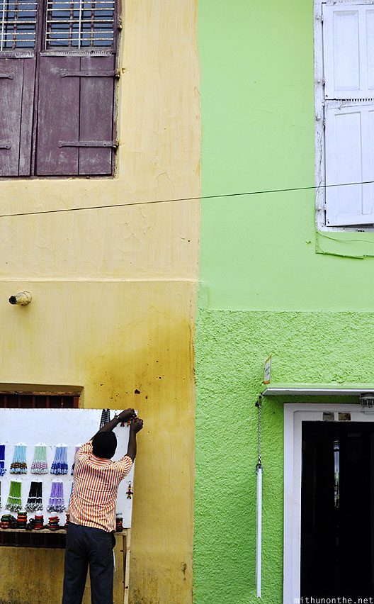 Yellow green colour buildings Jew town cochin Kerala