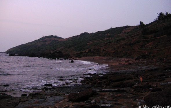 Anjuna beach rocky shores goa India