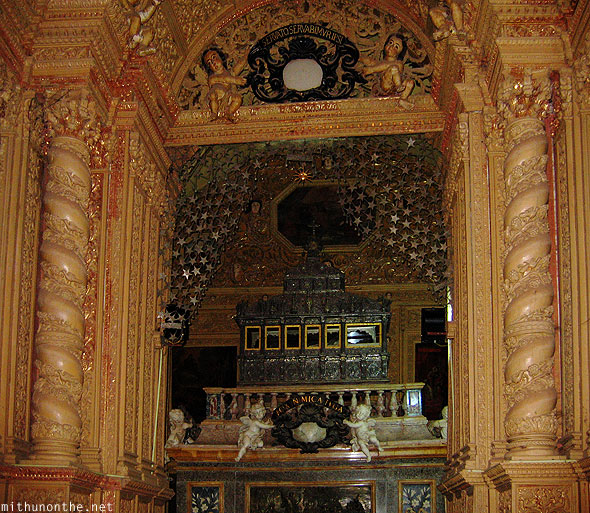 Bom Jesus Basilica Portugese church decor Goa India