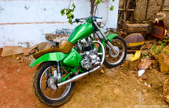 Enfield painted green Ozran Goa