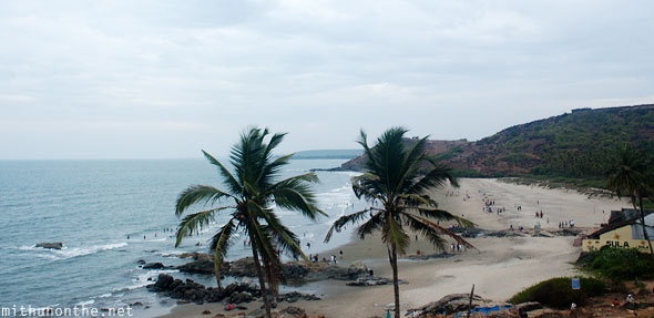 Ozran beach from hill Goa India