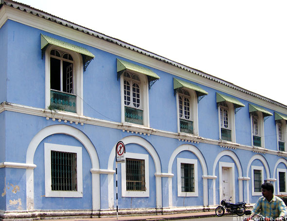 Panjim blue building Goa India