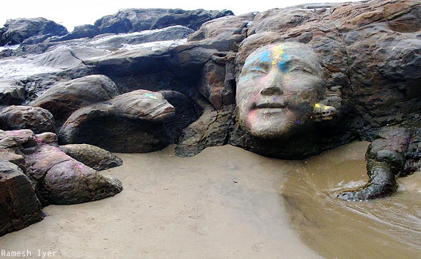 Shiva stone carving face Vagator beach Goa