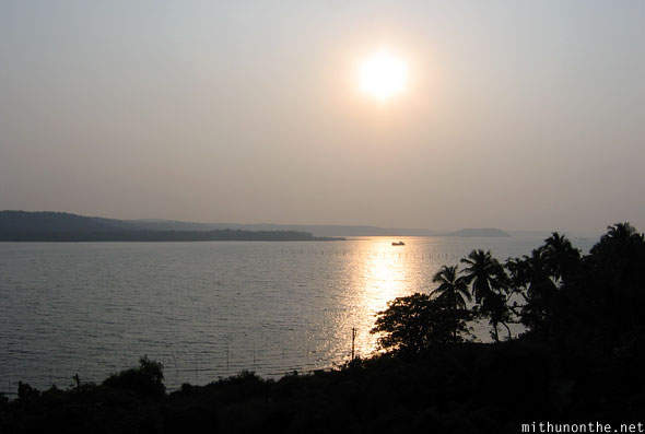 Zuari river sunset Goa India