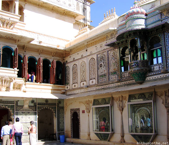 Inside courtyard Udaipur city palace Rajasthan