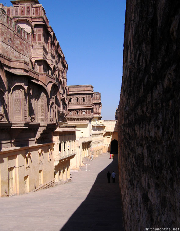 Inside Mehrangarh Fort wall architecture Jodhpur