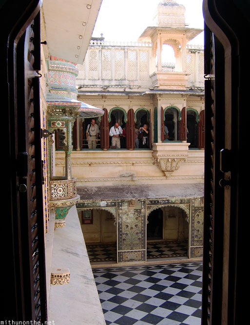 Inside Udaipur city palace window India
