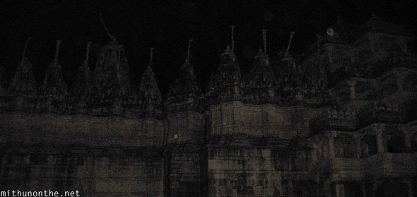 Jain temple Ranakpur at night Rajasthan