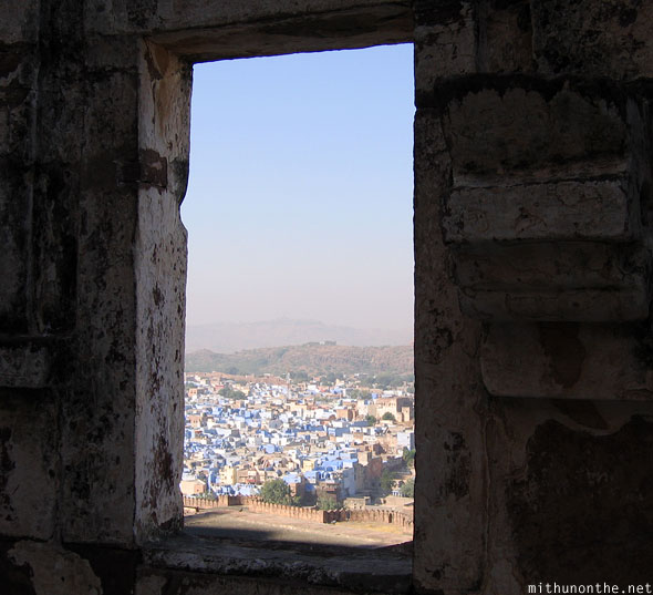 Mehrangarh Fort view through window Jodhpur