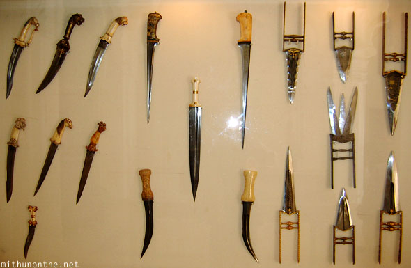 Old knives blades Mehrangarh Fort museum India