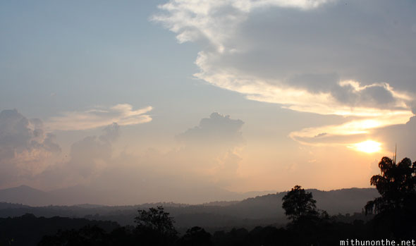 Sunset skies in Coorg India