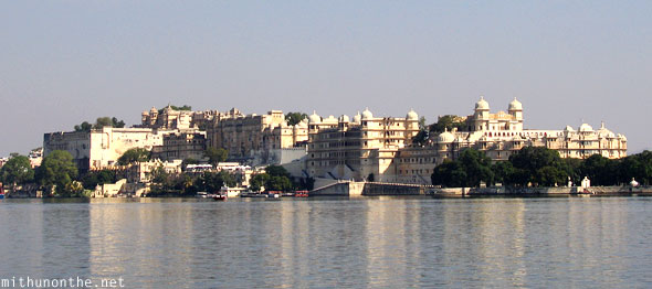 Udaipur city palace complex from Lake Pichola Rajasthan